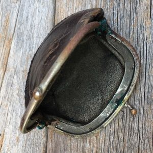 Vintage Other - MOP Abalone Brass Mirror Compact Leather Coin Set